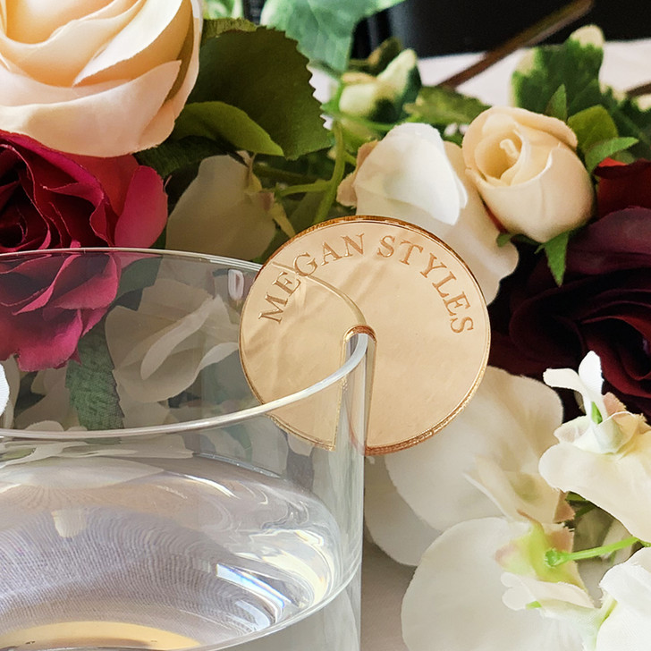 Personalised Gold Mirror Acrylic Drink Token Charm For Weddings And Events