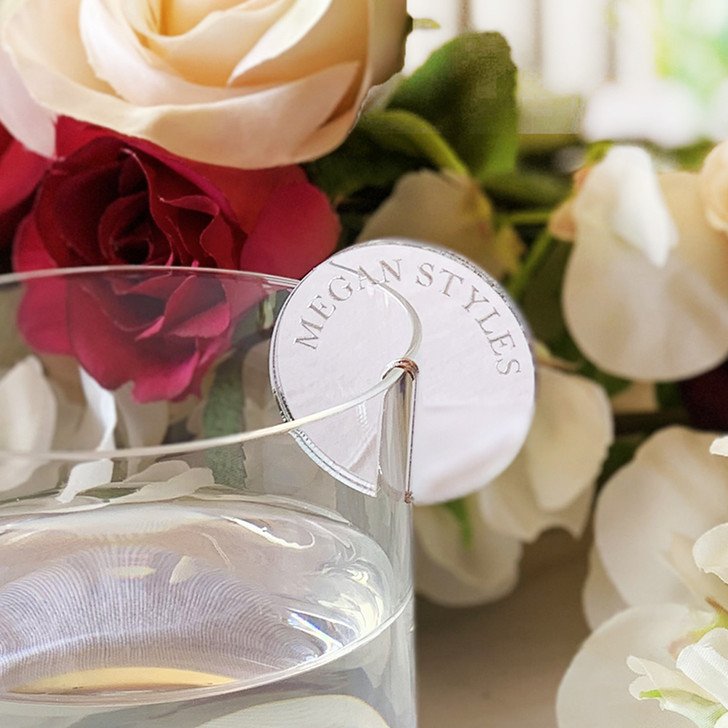 Personalised Silver Mirror Acrylic Drink Token Charm For Weddings And Events