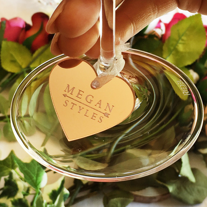Personalised Drink Heart Charms, Wedding Favours, Mirror Acrylic Glass Charm Place Name Setting