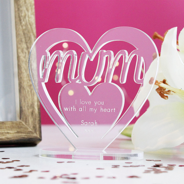 MUM Personalised Birthday HEART Plaque Gift For Her Keepsake Ornament Christmas Present