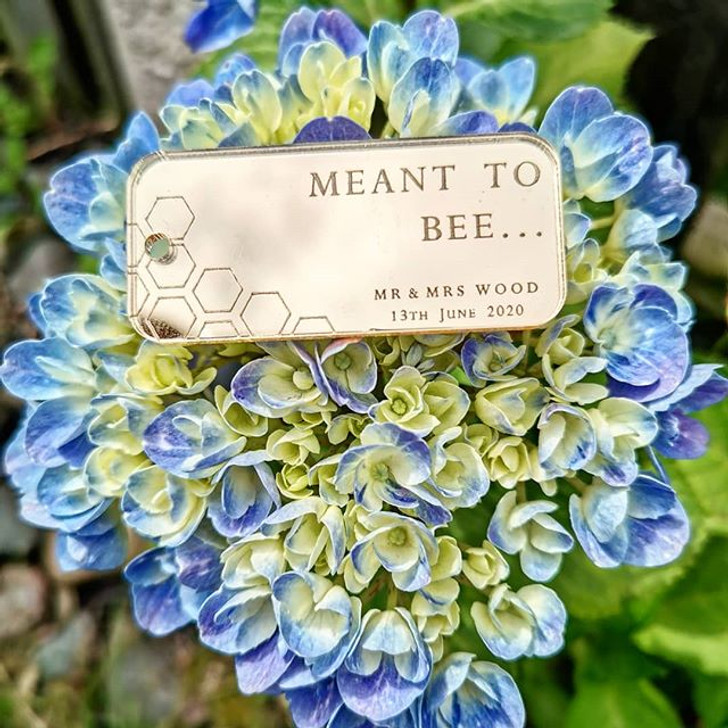 """Personalised """"Meant To Bee"""" Wedding Favours, Rose Gold, Gold or Silver Thank You Gift Tag"""