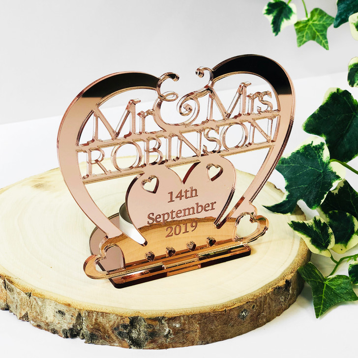 Personalised Rose Gold Heart Tea Light Candle Holder Mr & Mrs Surname and Date - Wedding or Anniversary Gift