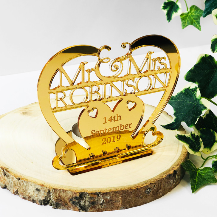 Personalised Gold Heart Tea Light Candle Holder Mr & Mrs Surname and Date - Wedding or Anniversary Gift
