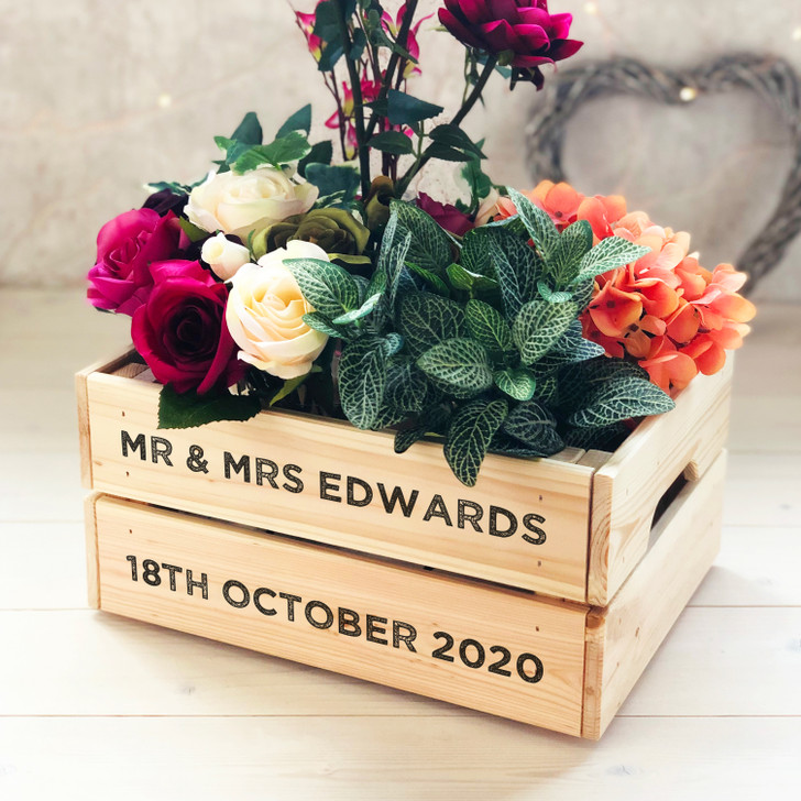 Personalised Mr & Mrs Wooden Wedding Crate Gift - Table Centrepiece, Cards Box, Favour Box