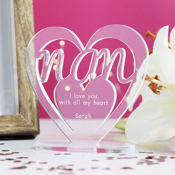 NAN Personalised Birthday HEART Plaque Gift For Her Keepsake Ornament Christmas Present