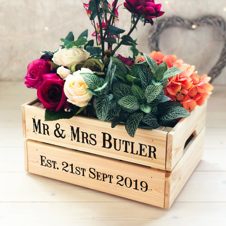 Personalised Rustic Style Wooden Wedding Crate - Mr & Mrs Wedding Gift Box