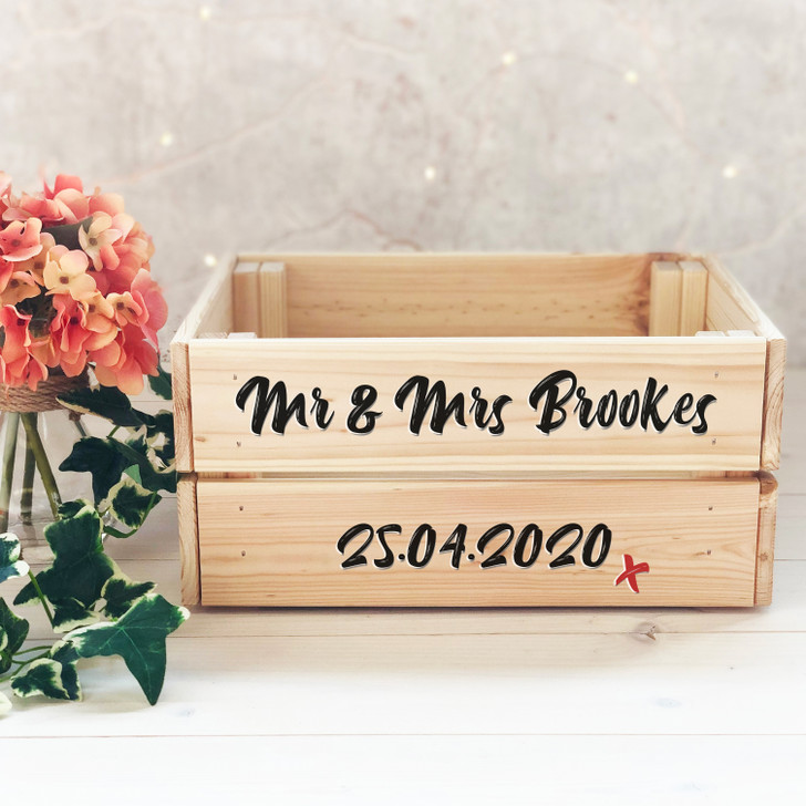 Personalised Mr & Mrs Gift Crate - Wooden Wedding or Anniversary Gift - Centre Piece, Cards Box, Treat Box, Present