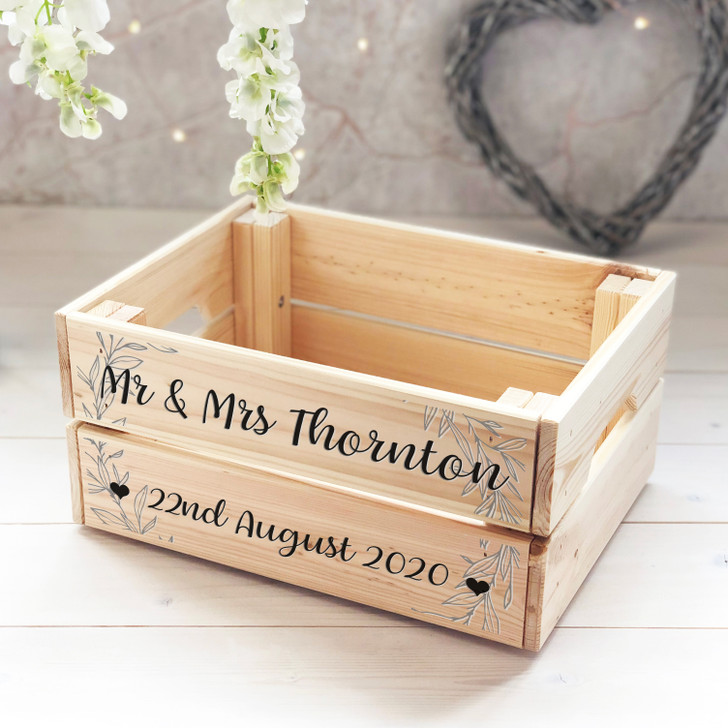 Personalised Mr & Mrs Wooden Wedding Crate With Date - Treat Box, Card Box, Wedding Present