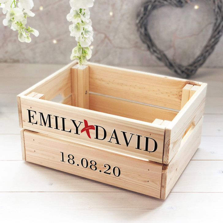 Personalised Couples Gift Crate - Wedding or Anniversary Gift - Centre Piece, Cards Box, Wedding Present