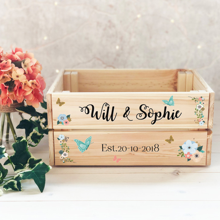 Personalised Floral Wooden Wedding Crate with Couples Names & Date - Wedding Decoration, Keepsake Present, Confetti or Card Box