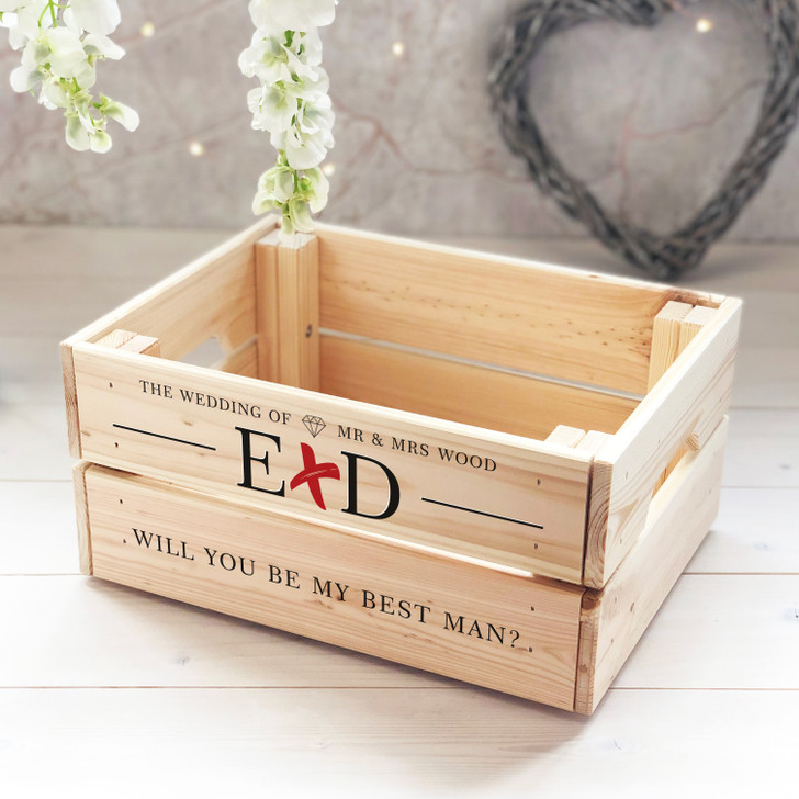 Personalised Wooden Wedding Crate Mr & Mrs With Initials - Keepsake Box Gift for Bridesmaid or Best Man
