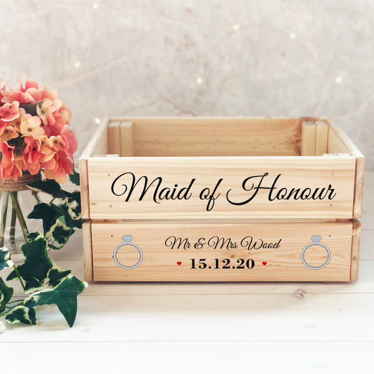 Personalised Maid Of Honour Wooden Wedding Gift Crate - Bridesmaid or Mother Of Bride Box, Thank You Keepsake Present