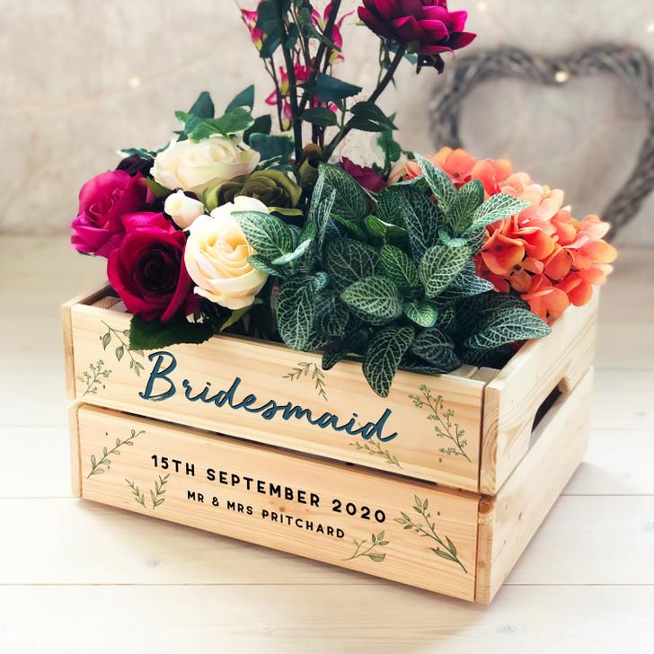 Personalised Bridesmaid Wooden Wedding Crate Gift, Bridesmaid Box, Keepsake Thank You Present