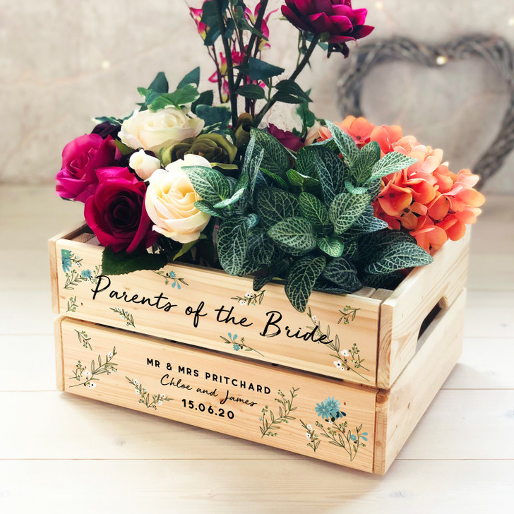 Personalised Parents Of The Bride Wooden Wedding Crate, Keepsake Box, Parents Of The Groom Thank You Gift