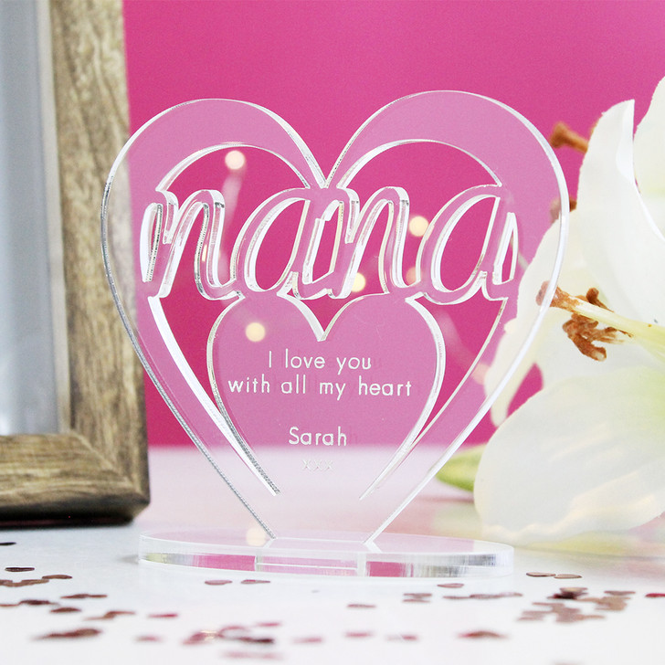 Nana Heart Ornament - Personalise With Any Message