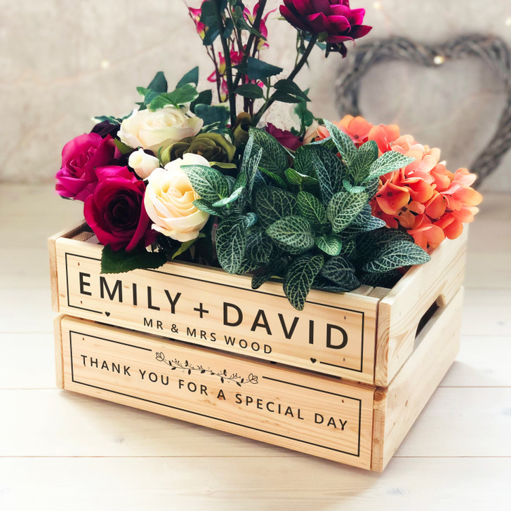 Personalised Couples Wooden Wedding Crate, Card, Confetti, Flower or Wedding Favour Box