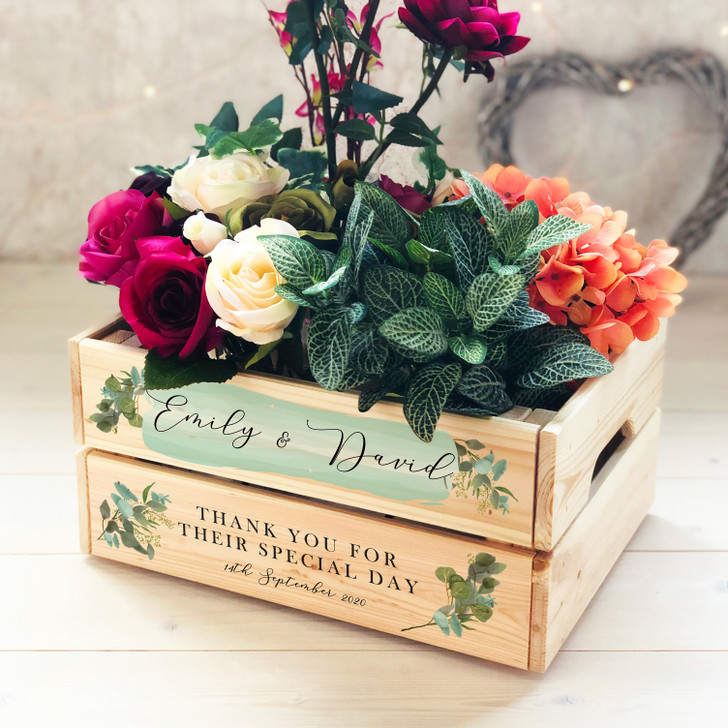 Personalised Couples Wooden Wedding Crate Thank You Gift, Card, Confetti, Flower or Wedding Favour Box