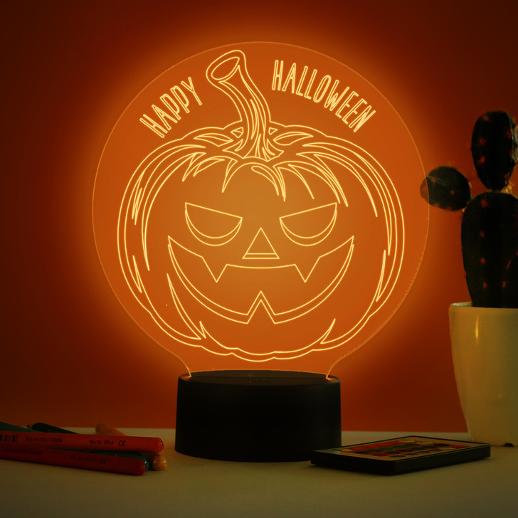 Personalised Halloween Pumpkin LED Night Light, Colour Changing Halloween Trick Or Treat Lamp For Window Display