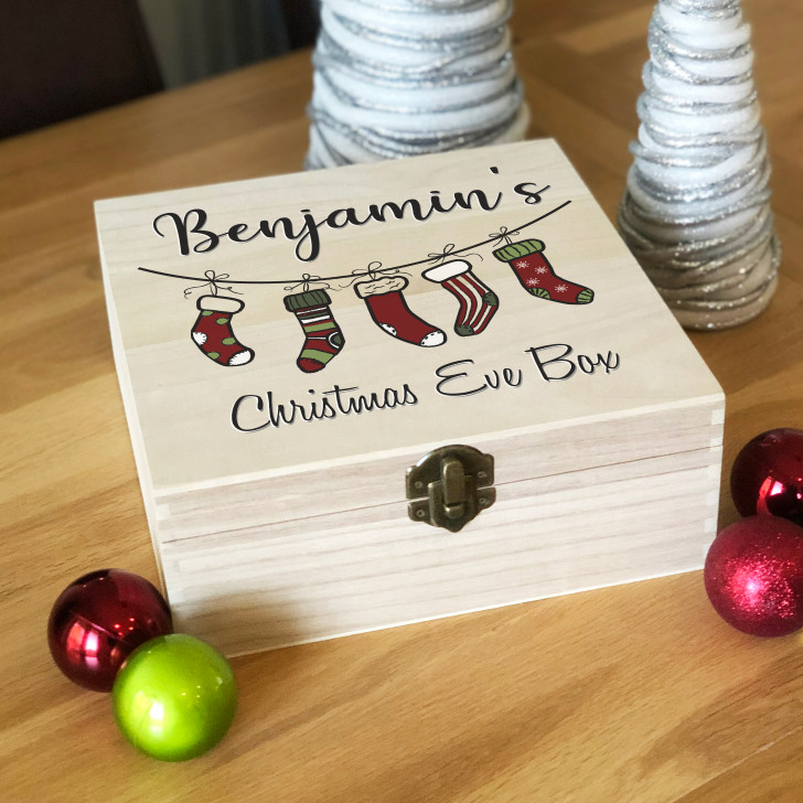 Personalised Stocking Design Wooden Christmas Eve Box, Family Xmas Eve Box For Kids