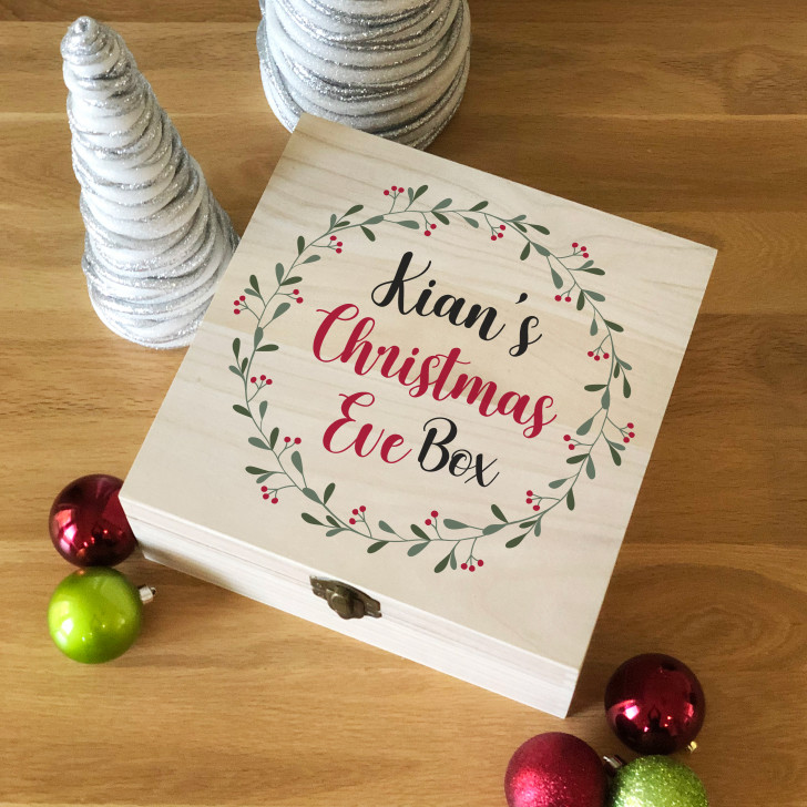 Personalised Mistletoe Wreath Design Wooden Christmas Eve Box, Family Xmas Eve Box For Children