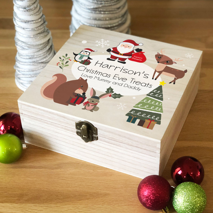 Personalised Kids Wooden Christmas Eve Box, Christmas Characters, Xmas Eve Box For Children