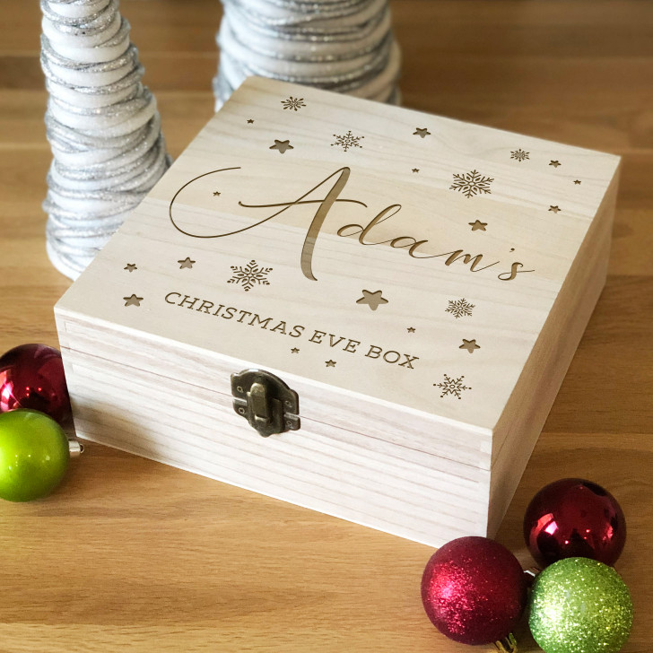 Personalised Engraved Wooden Christmas Eve Box For Kids, Snowflakes & Stars Xmas Eve Box For Children