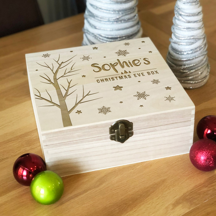 Personalised Engraved Wooden Christmas Eve Box For Kids, Winter Theme Xmas Eve Box For Children