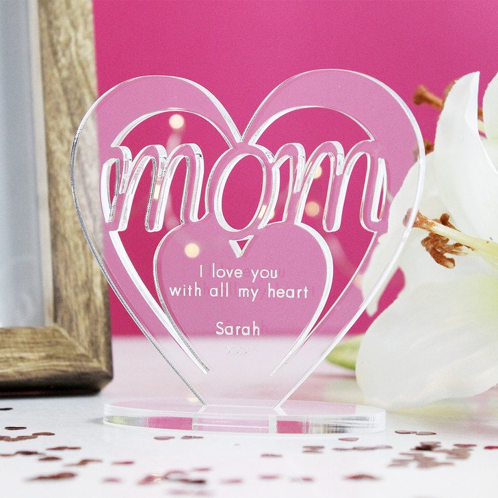 MOM Personalised Birthday HEART Plaque Gift For Her Keepsake Ornament Christmas Present