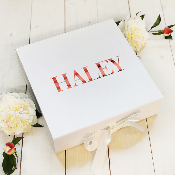 Personalised Name Wedding Gift Box, White Keepsake Box, Bridesmaid, Maid Of Honour, Bridal Party, Hen Party Gift