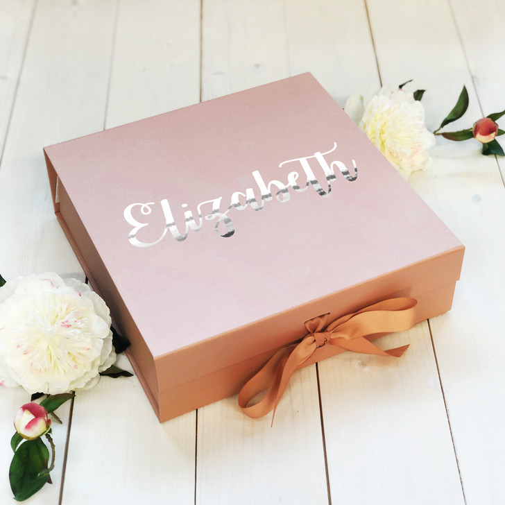 Personalised Rose Gold Wedding Gift Box, Bride, Bridesmaid, Maid Of Honour, Personalised Name, Memory Keepsake Box