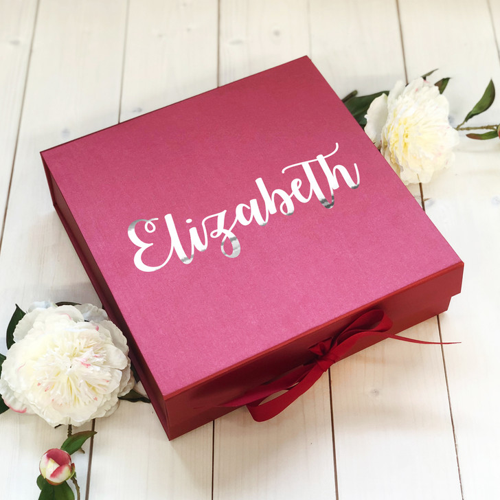Personalised Name Red Wedding Gift Box, Bridesmaid Box, Bridal Party Keepsake Box, Hen Party Boxes