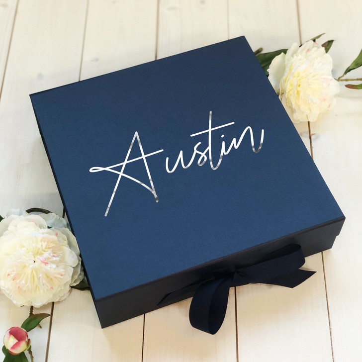 Personalised Name Wedding Day Navy Blue Gift Box, For Newly Weds and Anniversaries, Bridesmaid, Best Man, Wedding Party Keepsake Box