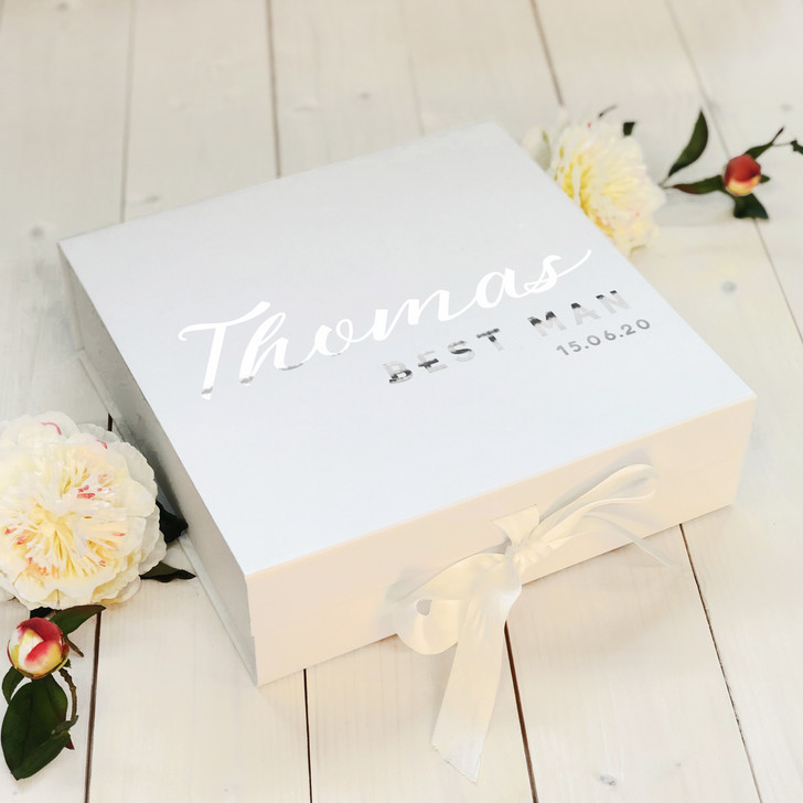 Personalised Wedding Day Gift Box, Bridesmaid, Best Man, Maid Of Honour Proposal Gift Box, Wedding Party Name & Role Keepsake Box