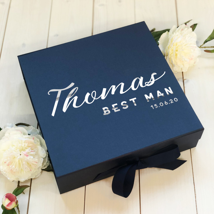 Personalised Best Man Navy Blue Box, Name & Role Wedding Proposal Gift Box, Bridesmaid Box, Wedding Party Box