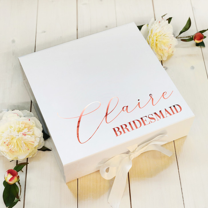Personalised Bridesmaid Box, Name & Role Wedding Proposal Gift Box, Maid Of Honour Box, Bridal Party Gift Box