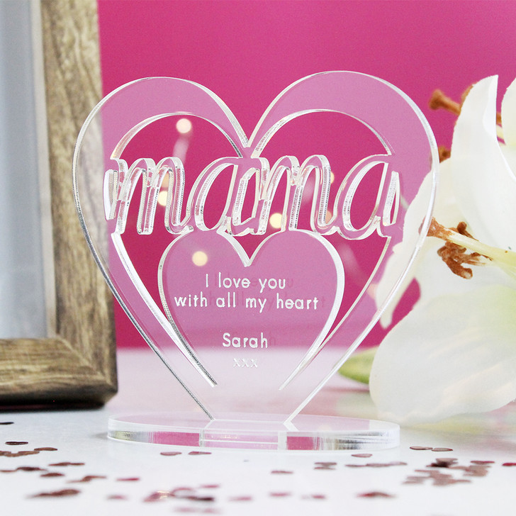 MAMA Personalised Birthday HEART Plaque Gift For Her Keepsake Ornament Christmas Present
