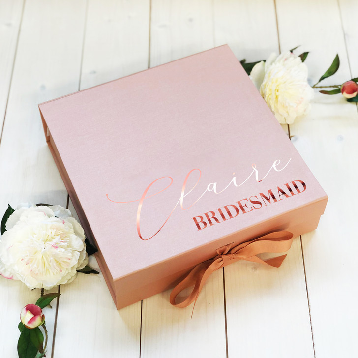 Personalised Bridesmaid Gift Box, Flower Girl Box, Name & Role Wedding Proposal Gift Box For Bridal Party