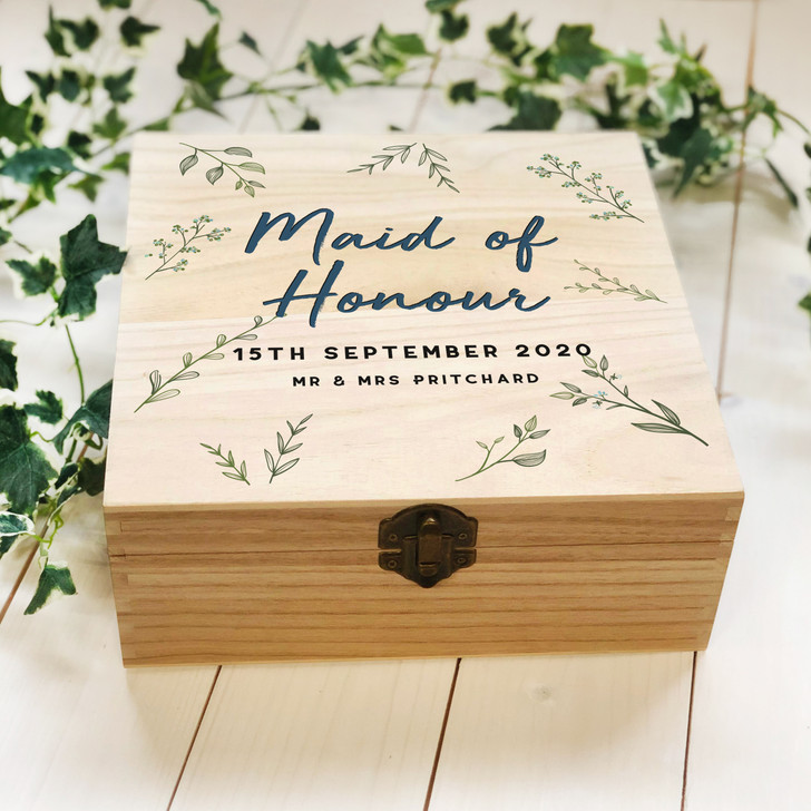 Personalised Wooden Bridesmaid Box, Maid Of Honour Box, Wedding Proposal Name & Role Keepsake Box