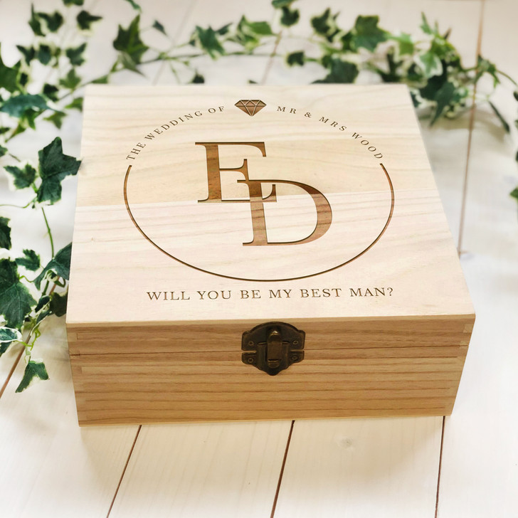 Personalised Initials Wooden Mr & Mrs Wedding Box, Will You Be My Best Man, Bridesmaid, Maid Of Honour, Proposal Gift Box