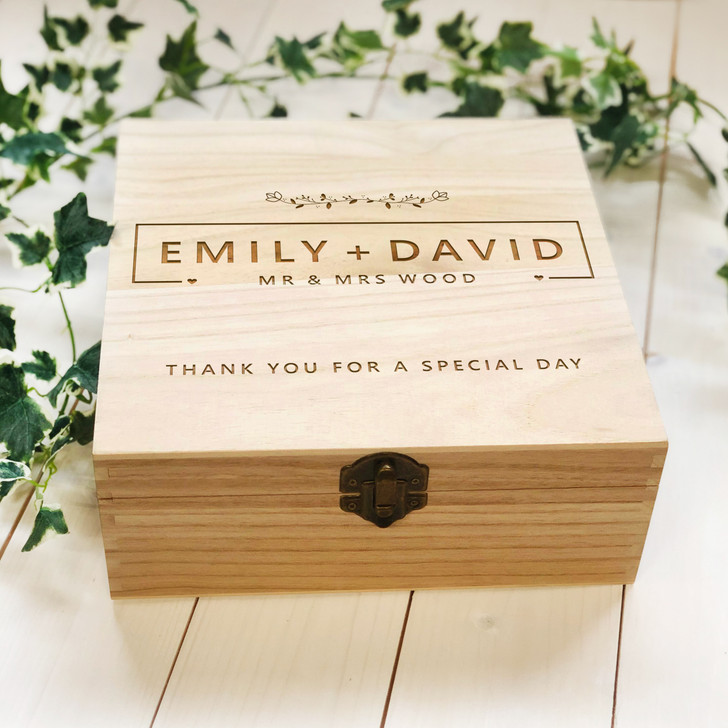 Personalised Mr & Mrs Wooden Wedding Gift Box, Thank You For A Special Day, Wedding Party Thank You Gift