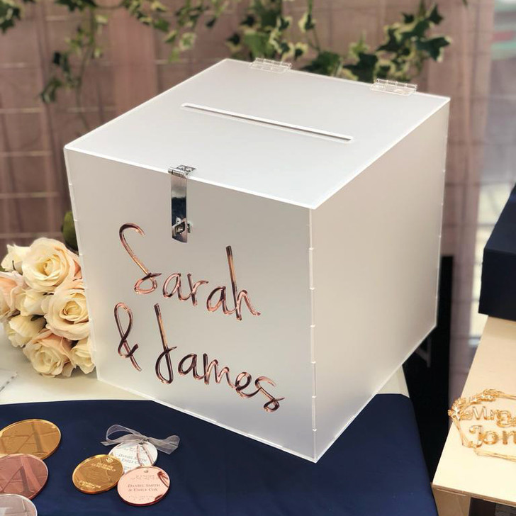 Personalised Frosted Acrylic Wedding Card Box, Wedding Reception Wishing Well Card Holder Post Box For Guests Cards Presents Money