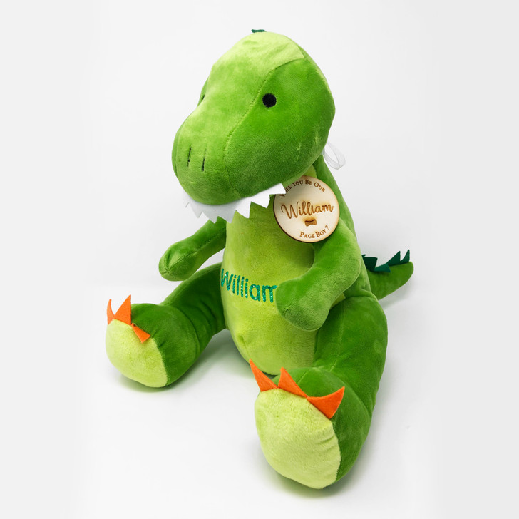 Personalised Dinosaur Teddy Will You Be Our Page Boy/Flower Girl, Wedding Gift For Little Boy, with Name & Gift Tag