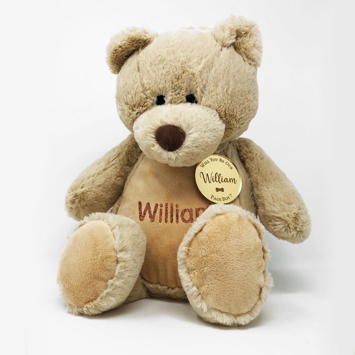Personalised Teddy Bear Will You Be Our Page Boy/Flower Girl, Wedding Gift For Little Boy or Girl, with Name & Gift Tag