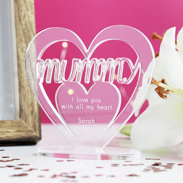 MUMMY Personalised Birthday HEART Plaque Gift For Her Keepsake Ornament Christmas Present