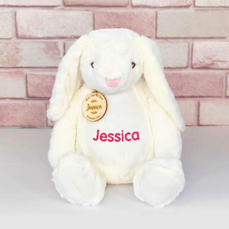 Personalised Bunny Rabbit, Will You Be Our Flower Girl/Page Boy, Wedding Gift For Little Girl or Boy, with Name & Gift Tag