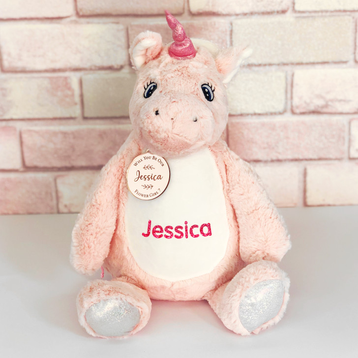 Personalised Pink Unicorn Will You Be Our Flower Girl/Page Boy, Wedding Gift For Little Girl or Boy, with Name & Gift Tag