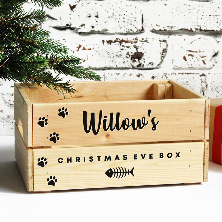 Personalised Cats Christmas Eve Box, Kitten Treats Wooden Xmas Eve Crate Gift