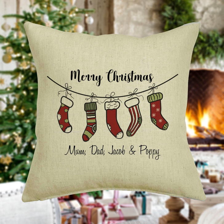 Personalised Family Christmas Cushion Cover, Stocking Design, Family Names, Mum Dad and Kids, Xmas Decoration Living Room Decor
