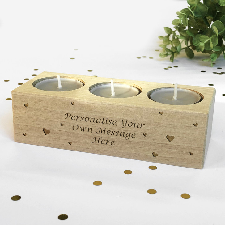 Personalised Tea Light Candle Holder With Message, Birthday, Christmas or Anniversary Gift Idea
