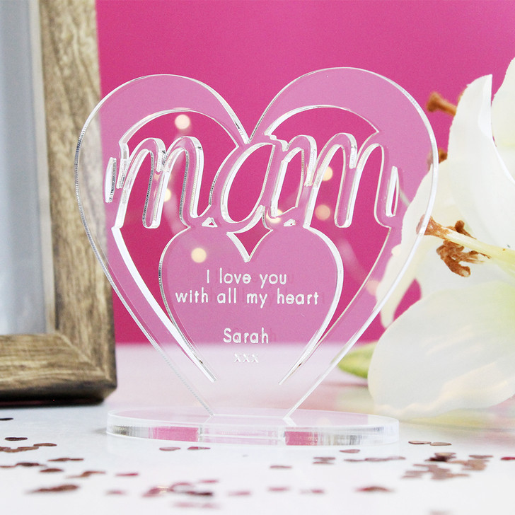 MAM Personalised Birthday HEART Plaque Gift For Her Keepsake Ornament Christmas Present